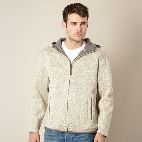 Mantaray - Natural twisted knit zip through hoodie