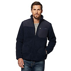 Mantaray - Big and tall navy borg zip through jacket
