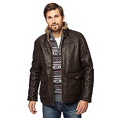 Mantaray - Big and tall brown borg lined Harrington jacket