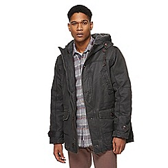 Mantaray - Dark grey sherpa collar waxed parka