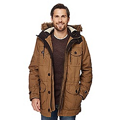 Mantaray - Dark tan faux fur trim parka jacket