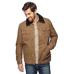 Mantaray - Big and tall light brown cord collar western canvas jacket