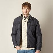 Big and tall navy coated cotton biker jacket