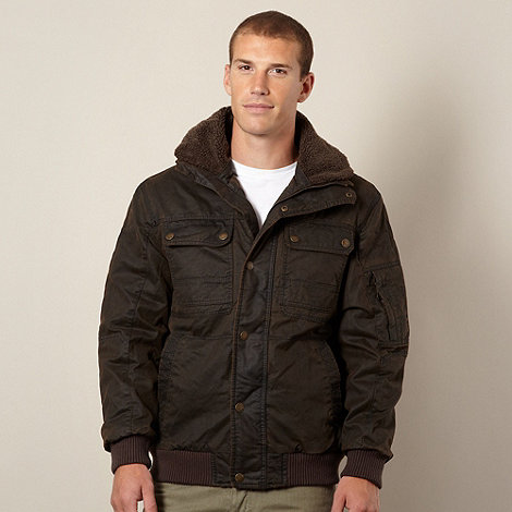 Mantaray - Chocolate fleece collar waxed flight jacket