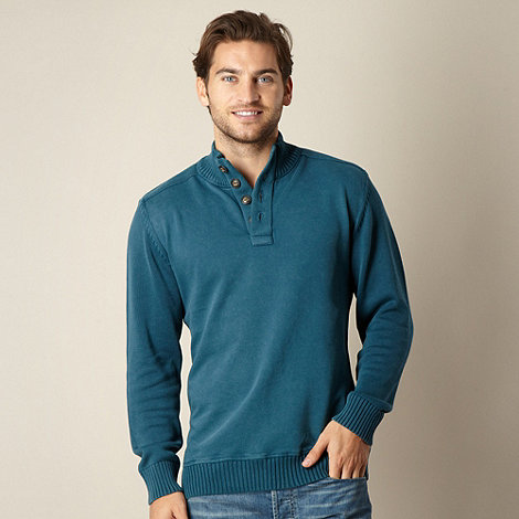 Mantaray - Dark turquoise funnel neck pullover