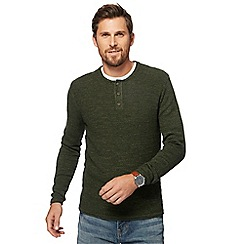 Mantaray - Big and tall khaki textured grandad collar jumper