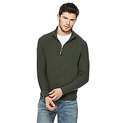 Mantaray - Big and tall dark green textured zip neck sweater
