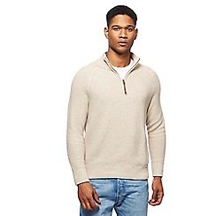 Mantaray - Cream textured zip neck sweater