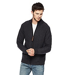 Mantaray - Dark grey twisted knit zip through sweater