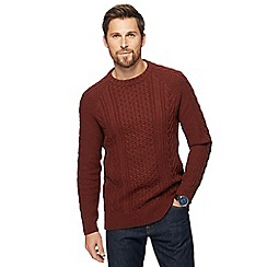 Mantaray - Orange cable knit crew neck jumper
