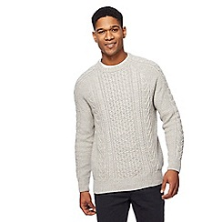 Mantaray - Big and tall natural cable knit crew neck jumper
