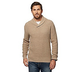Mantaray - Big and tall natural knitted shawl neck jumper