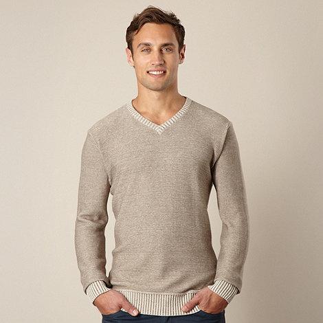 Mantaray - Natural cotton V neck jumper