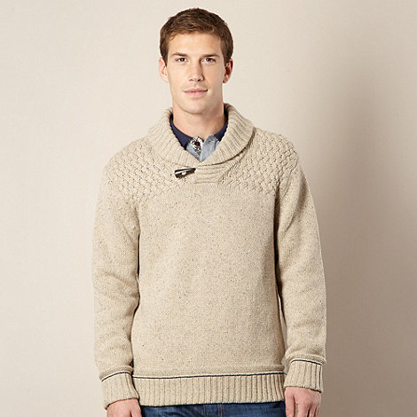 Mantaray - Big and tall beige textured knit shawl neck jumper
