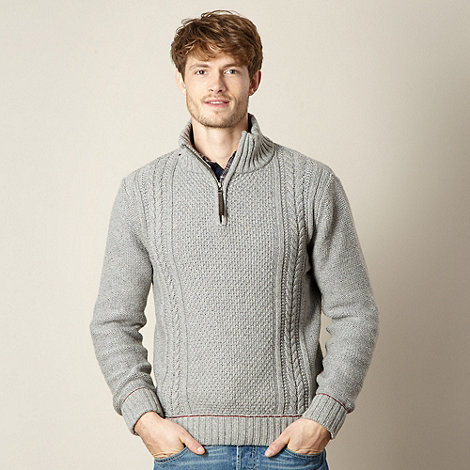Mantaray - Light grey cable striped zip neck jumper
