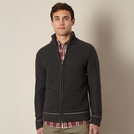 Mantaray - Dark grey zip through knitted cardigan