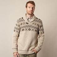 Big and tall beige fairisle knit jumper