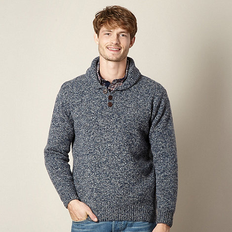 Mantaray - Navy twisted knit shawl neck jumper