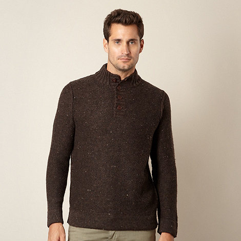 Mantaray - Big and tall brown button neck knit jumper