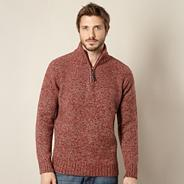 Big and tall red zip up funnel neck jumper