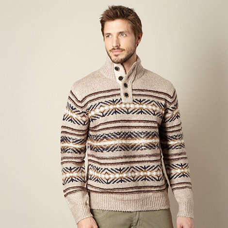 Mantaray - Big and tall beige punk pattern striped jumper