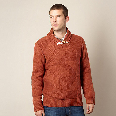 Mantaray - Orange textured knit shawl neck jumper