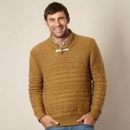 Big and tall mustard cable knit jumper