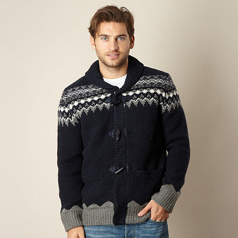 Mantaray - Navy Fairisle  knit shawl neck cardigan