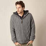 Grey cable knitted hoodie