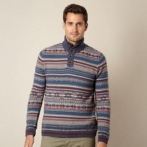 Mantaray - Big and tall blue patterned knit jumper