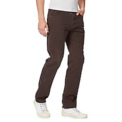 Mantaray - Big and tall brown straight leg trousers