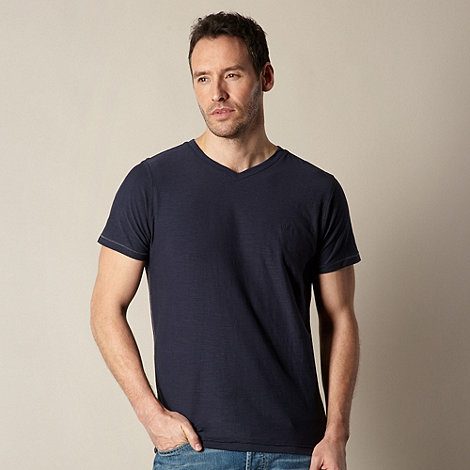 Mantaray - Big and tall navy v neck plain t-shirt