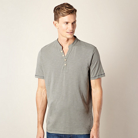 Mantaray - Big and tall dark grey button neck t-shirt