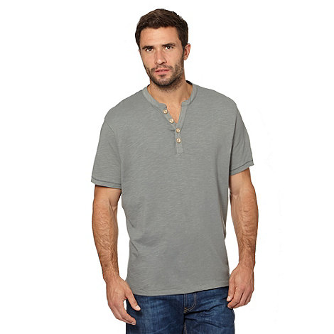 Mantaray - Khaki button up V neck t-shirt