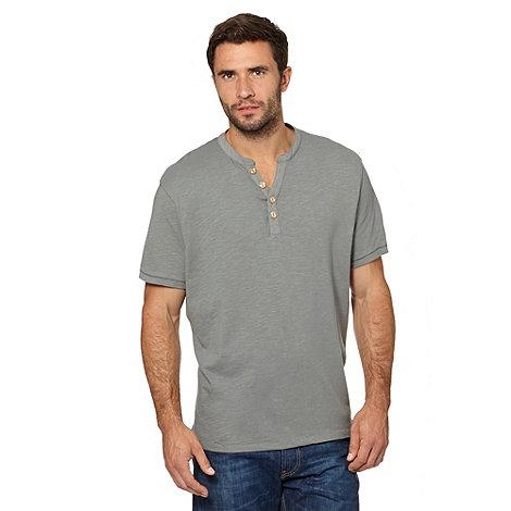 Mantaray - Khaki button up V neck t-shirt