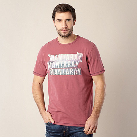 Mantaray - Big and tall dark pink logo t-shirt
