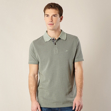 Mantaray - Big and tall light green textured polo shirt