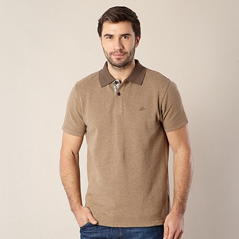 Mantaray - Big and tall brown pique polo shirt