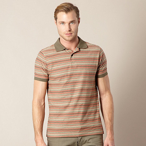 Mantaray - Big and tall khaki multi striped polo shirt