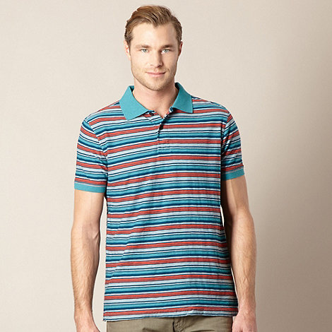 Mantaray - Big and tall turquoise fine striped polo shirt
