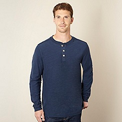 Mantaray - Big and tall navy textured button neck top