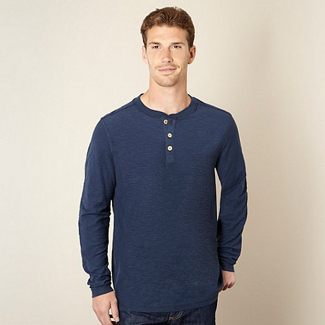 Mantaray - Navy textured button neck top