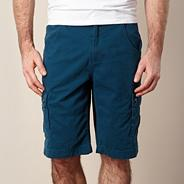 Big and tall turquoise cargo button shorts