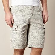 Big and tall stone floral outline print cargo shorts