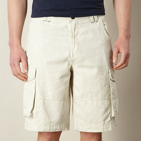 Mantaray - Big and tall natural linen blend cargo shorts