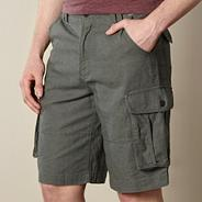 Khaki linen mix cargo shorts