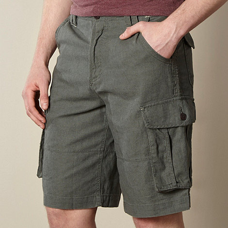 Mantaray - Big and tall khaki linen mix cargo shorts