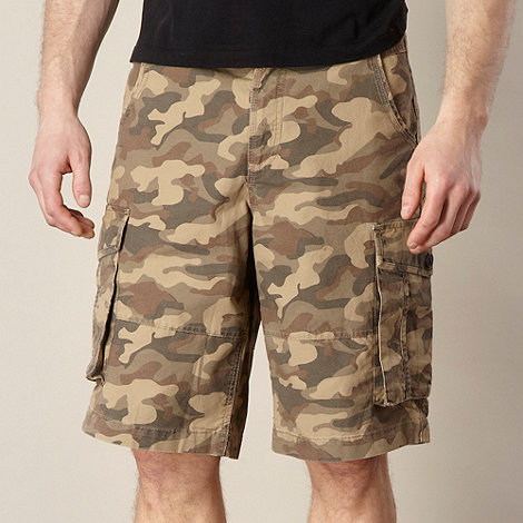 Mantaray - Big and tall khaki camo cargo shorts