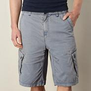 Blue acid wash cargo shorts