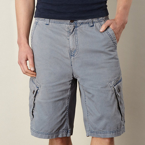 Mantaray - Big and tall blue acid wash cargo shorts
